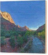 The Watchman Zion National Park Wood Print