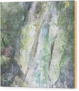 The Water Falls Wood Print