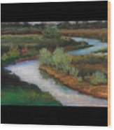 The Water Flows South Wood Print