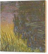 The Water Lilies, Setting Sun Wood Print