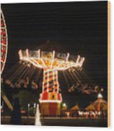 The Wave Swinger Ride Navy Pier Chicago Wood Print