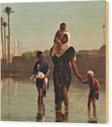 The Way From The Village. Time Of Inundation. Egypt Wood Print