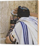 The Western Wall, Jewish Man Wearing Wood Print by Richard Nowitz