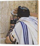 The Western Wall, Jewish Man Wearing Wood Print