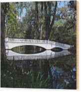 The White Bridge In Magnolia Gardens Charleston Wood Print