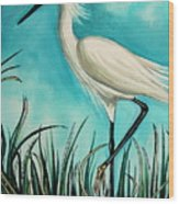 The White Egret Wood Print