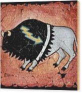 The White Sacred Buffalo Fresco Wood Print