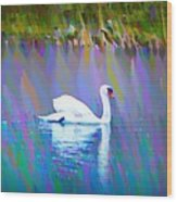 The White Swan Wood Print by Bill Cannon
