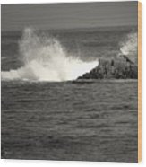 The Wild Pacific In Black And White Wood Print