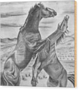 The Wild West Mustangs Wood Print