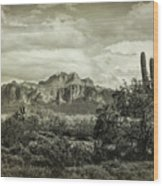 The Wild West Of The Superstitions  Wood Print
