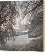 The Wintery Landscape Wood Print