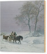The Wintry Road To Market  Wood Print