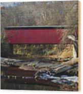 The Wissahickon Creek In Autumn - Thomas Mill Covered Bridge Wood Print