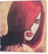 The Woman In Red Wood Print