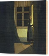 The Woman With The Candlestick Wood Print
