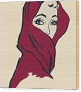 The Woman With The Crimson Veil Wood Print