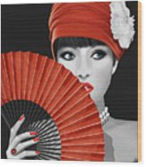 Woman With Paper Fan Wood Print