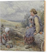The Woodcutter's Children Wood Print