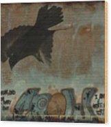 The Word Crow Wood Print