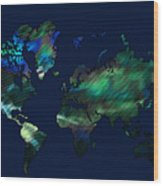 The World In Blues Wood Print