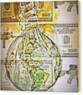 The World Is Money Wood Print by Paulo Zerbato