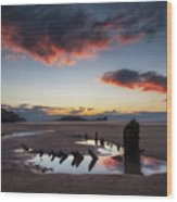 The Wreck Of The Helvetia And Worms Head Wood Print