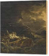 The Wreck Of The H.m.s. Deal Castle Off Puerto Rico During The Great Hurricane Of 1780 Wood Print
