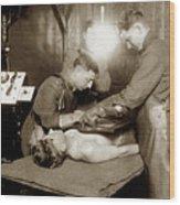 The X-ray Department Base Hospital 34, U. S. A., Nantes, France,  1918 Wood Print