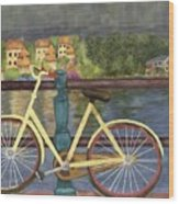 The Yellow Bicycle  Wood Print