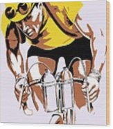 The Yellow Jersey Retro Style Cycling Wood Print