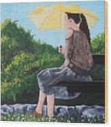 The Yellow Umbrella Wood Print