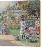 The Young Gardeners Wood Print