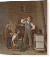 The Young Pipe Smoker Wood Print