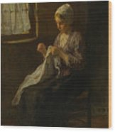 The Young Seamstress Wood Print
