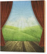 Theater Stage With Red Curtains And Nature Background  Wood Print