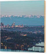The_olympics_over_seattle Wood Print