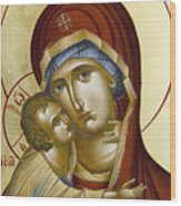 Theotokos Wood Print by Julia Bridget Hayes