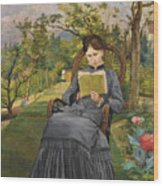 Therese Reading In The Park Of Meric Wood Print