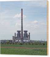 Thermal Power Plant On Green Wheat Field Industry Wood Print