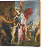 Thetis Receiving The Weapons Of Achilles From Hephaestus Wood Print