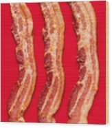 Thick Cut Bacon Served Up Wood Print