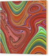 Thick Paint Orange Abstract Wood Print