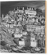 Thiksey Monastery - Paint Bw Wood Print
