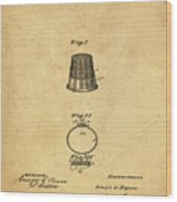 Thimble Patent 1891 In Sepia Wood Print