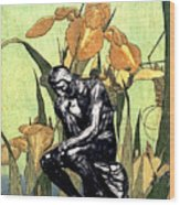 Thinking In The Garden Wood Print