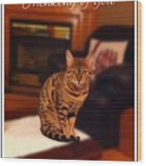 Thinking Of You - Bengal Cat Wood Print