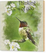 Thinking Of You Hummingbird Flora Fauna Greeting Card Wood Print