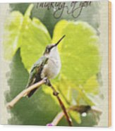 Thinking Of You Hummingbird In The Rain Greeting Card Wood Print