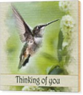 Thinking Of You Peaceful Love Hummingbird Greeting Card Wood Print